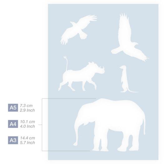 Afrikaanse dieren stencil sjabloon