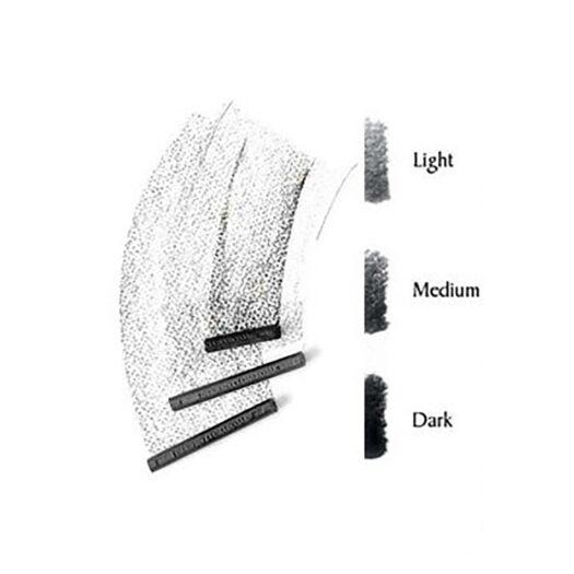 Derwent houtskool blokje in light, medium en dark traditioneel houtskool tekenen