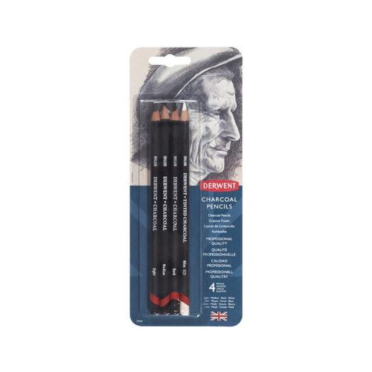 Derwent houtskool potloden light medium en dark voor houtskool tekenen en schetsen set van 4